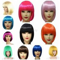 13 Colors Women's Sexy Full Bangs Wigs Short Straight BOB Hair Wig Party Cosplay