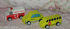 Twinkle Little Star! Three Wood Toy Cars: Taxi, School Bus, Ambulance EUC!