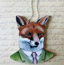 KoOkY KiTsCh HUGE WOODEN FOX IN SUIT CLOTHES SILVER PLATED NECKLACE CHOKER 85mm