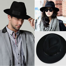 Unisex Women Men's Black Fashion Wool Felt Wide Brim Fedora Pork Pie Hat Caps