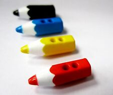 20 cute fun childrens pencil crayon buttons - 6x20mm - blue black red yellow