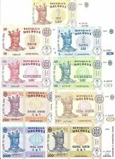 MOLDOVA FULL SET ALL 9 notes UNC. BEST PRICE ON EBAY! FREE SHIPPING!