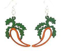 Green Tree Jewelry Carrot Vegetable Earrings Wood Wooden Laser Cut Earrings