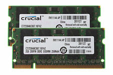 Crucial 4GB 2X 2GB DDR2 2RX8 PC2-5300 667mhz So-dimm RAM Notebook Laptop Memory