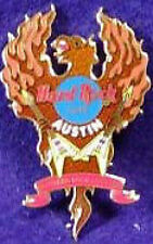 """Hard Rock Cafe AUSTIN 2003 """"Southern Rock Lives On"""" PIN PHOENIX with FLAMES"""