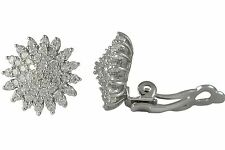 Sterling Silver Rhodium Plated CZ Starburst 14mm Circle Clip-On Earrings