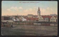 POSTCARD CHEYENNE WY/WYOMING RAILROAD DEPOT & YARD BIRD'S EYE AERIAL VIEW 1907