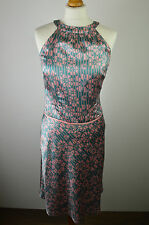 Beautiful women's Ted Baker silk green and pink floral sleeveless dress small 2