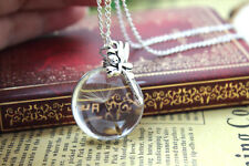 fairy real dandelion necklace. Make a wish supported by tinkerbell airy silver