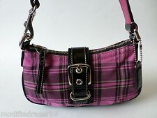 Coach Hampton Tartan Plaid Small Demi Bag Pink Black 9753