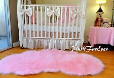 3' x 5' Baby Pink Cloud Cute Shaggy Faux Fur Rug Nursery Area Rug Sheepskin