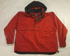 Chaps Ralph Lauren Red Pullover Windbreaker LARGE Hooded Spell Out VTG 90s