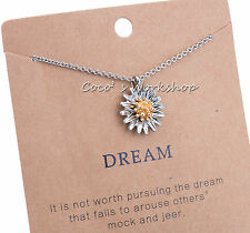 QUALITY 3D LUCKY DAISY PENDANT NECKLACE SILVER GOLD TONE WOMENS JEWELLERY GIFT
