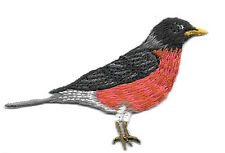 BIRD - AMERICAN ROBIN FACING RIGHT IRON ON APPLIQUE PATCH