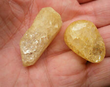 2 x YELLOW CRACKLE QUARTZ  - 1 ROUGH POINT * 1 POLISHED STONE - GIFT BAG ID CARD