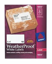 "Avery WeatherProof Shipping Labels for Laser Printers, 2"" x 4"", White, 100/Pack"