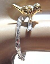 LITTLE BIRD RING silver gold on branch nature animal songbird finch sparrow 3E
