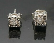 9Ct Oro Bianco Illusione Set Diamante(0.10tcw) Orecchini A Perno (4mm Diametro)