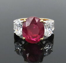 Certified 7.65ct Ceylon Ruby & 2.25ct Oval Cut Diamond 18K Gold Ring
