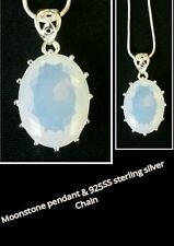 Rainbow Moonstone Gemstone 925SS Sterling Silver Necklace Pendant + chain