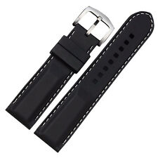 NEW 22mm Black with White stitching silicone rubber sports watch strap. (UK)