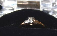 Solid 14K Yellow/White Gold Art Deco 1920s Diamond  Ring 0.10cts Size 5.5
