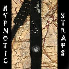 HYPNOTIC BLACK BAT LEATHER SUEDE GOTH GUITAR, BASS & ACOUSTIC STRAP GOTHIC STUD