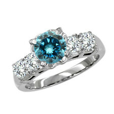 0.45 Carat Blue Round SI2 Round Diamond Solitaire Engagement Ring 14K WG ASAAR
