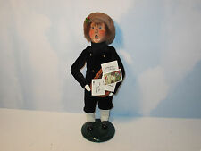 Byers Choice 1996 Sweet Teen Boy in Black Velveteen Suit Carrying Holiday Cards