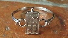 Dr Who Doctor BBC Tardis Stainless Steel Silver Bangle Bracelet Junior Kid 7.5""
