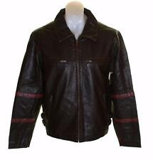 New Men's Authentic Brooker Lined Faux Leather Biker Jacket Coat Medium Brown