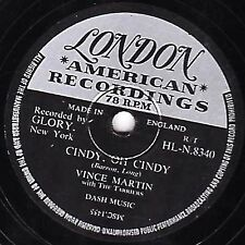 "1956 VINCE MARTIN & THE TARRIERS  78 "" CINDY, OH CINDY "" UK LONDON HL.N 8340 EX-"