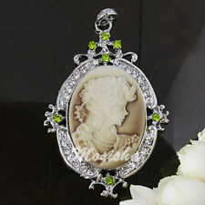1p Silver Plated Crystal Resin Oval Cameo Women Charm Pendant For Necklace DIY