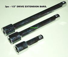 """1/2"""" DRIVE EXTENSION BARS 3pc SET ( 3, 6, 8 inch long ) - BRAND NEW."""