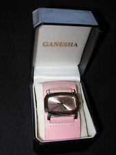Ladies PINK Wide Leather Band Watch Large Face GENESHA, Gift Boxed Free Shipping