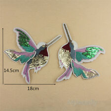 1 Pair Bird Sequin Embroidered Sew Iron On Patch Badge Fabric Applique Lace Trim