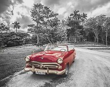 Red Gray Home Decor Antique Vintage Car Wall Art Photo Print B&W Matted Picture