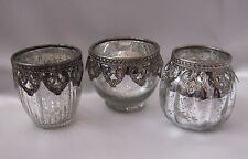 Set of 3 Vintage Lace Tea Light Candle Holders Antique Silver Shabby Chic