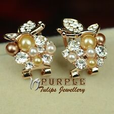 18CT Rose Gold GP Fashion Butterfly Pearls Earrings W/Swaroski Crystals