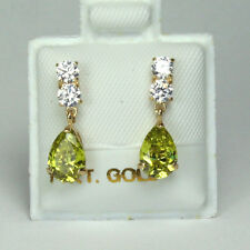 14K solid yellow gold teardrop natural Olive Peridot & white Topaz earring/teens