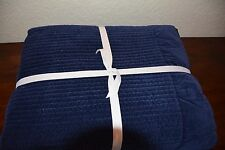 POTTERY BARN VELVET CHANNEL STITCHED QUILT MIDNIGHT BLUE KING