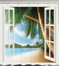 WHITE WINDOW PALM TREES TROPICAL ISLAND OCEAN WAVES SANDY BEACH SHOWER CURTAIN