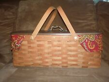 Longaberger 2011 Long Market Basket Set with Lid - Crimson Hill