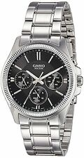 Casio MTP1375D-1A Mens Stainless Steel 50M Dress Watch Black Dial NEW