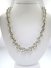 TIFFANY & CO. OVAL RETURN TO TIFFANY STERLING SILVER NECKLACE CABLE CHAIN 15.5""