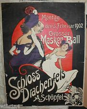 1902 Original Antique MASQUERADE Poster from the Dragon Castle Bonn Germany