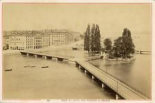Suisse, Genève, Pont et Hôtel des Bergues  Vintage albumin print Tirage al