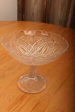 Vintage Glass Compote Celtic Knot Pattern Candy Dish