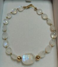 45cts super blue flash Moonstone oval faceted nuggets solid 14k gold bracelet