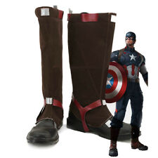 Captain America Steve Rogers Battleframe Boots Shoes Halloween Cosplay Shoes